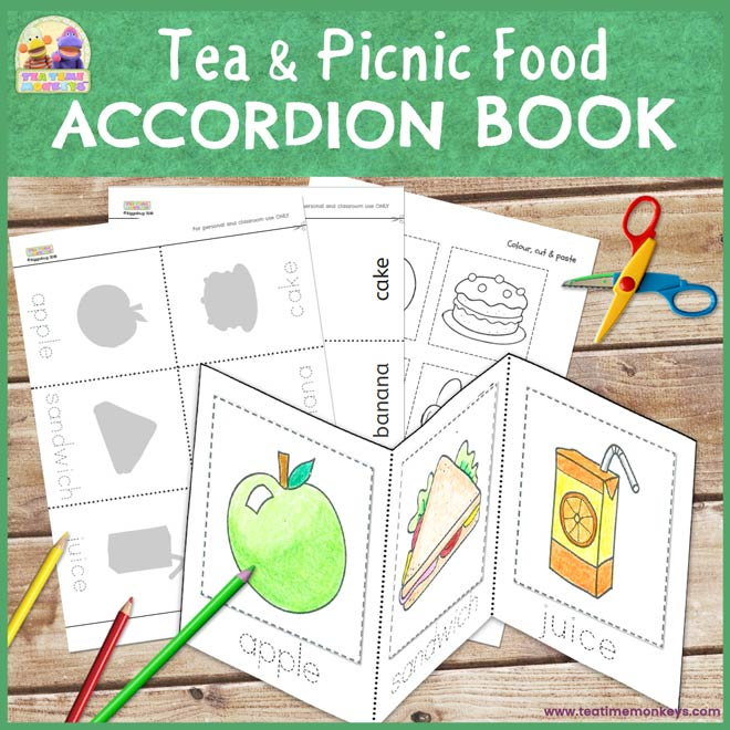 Tea & Picnic Food Accordion Book - Cut & Paste Printable