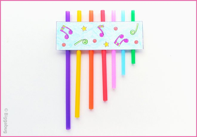 drinking straw pan pipes craft finished