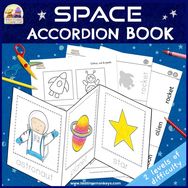 Space Accordion Book - Free Printable - Tea Time Monkeys