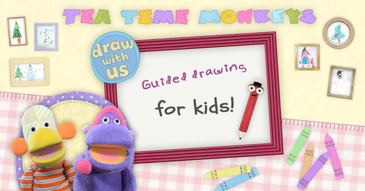 Guided drawing for kids - Tea time Monkeys