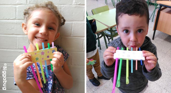 Drinking straw panpipes recycling craft - kids