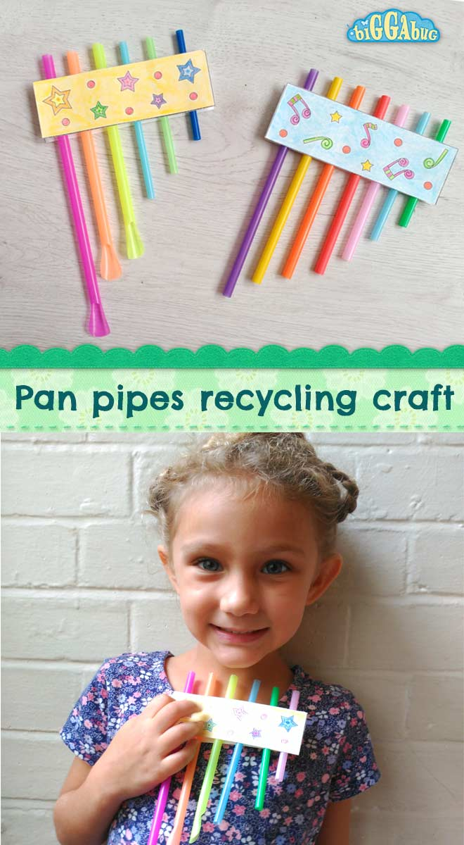 Drinking straw panpipes recycling craft - Biggabug