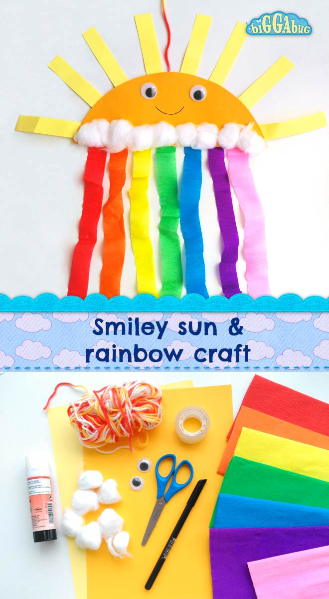 Smiley sun and rainbow craft - Biggabug