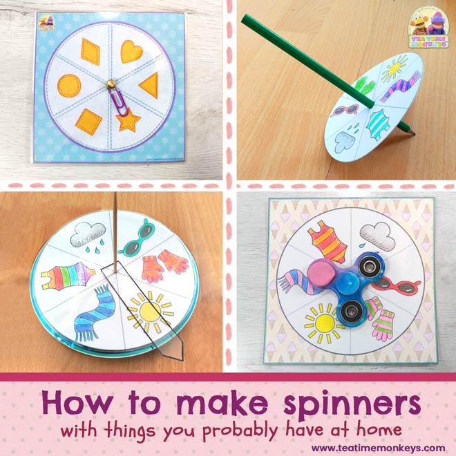 How to make spinners with things you probably have at home - Tea Time Monkeys
