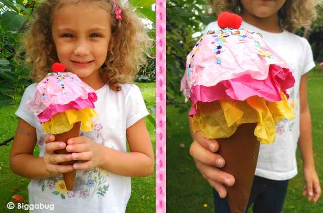 Girl with ice-cream cone craft - Biggabug
