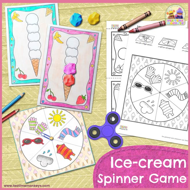 Ice-cream Spinner Game Printable - Tea Time Monkeys
