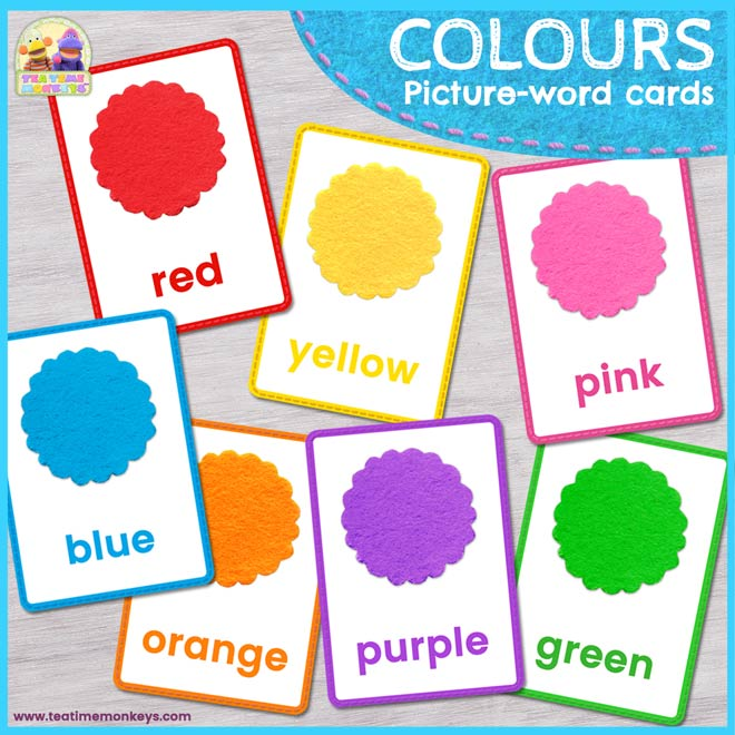 Colours Picture-word Flashcards - Free Printable - Tea Time Monkeys
