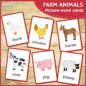 Farm animals flashcards - Tea Time Monkeys