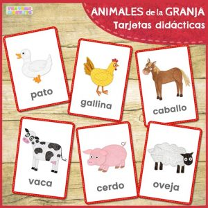 Animales de la granja tarjetas didacticas - Tea Time Monkeys
