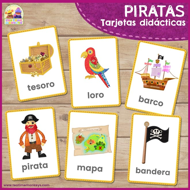 Piratas - tarjetas didácticas - Tea Time Monkeys