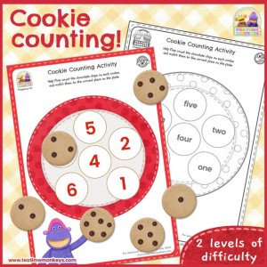 Cookie Counting Printable - Tea Time Monkeys