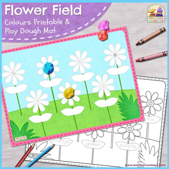 Flower Field – Colours Printable / Play Dough Mat