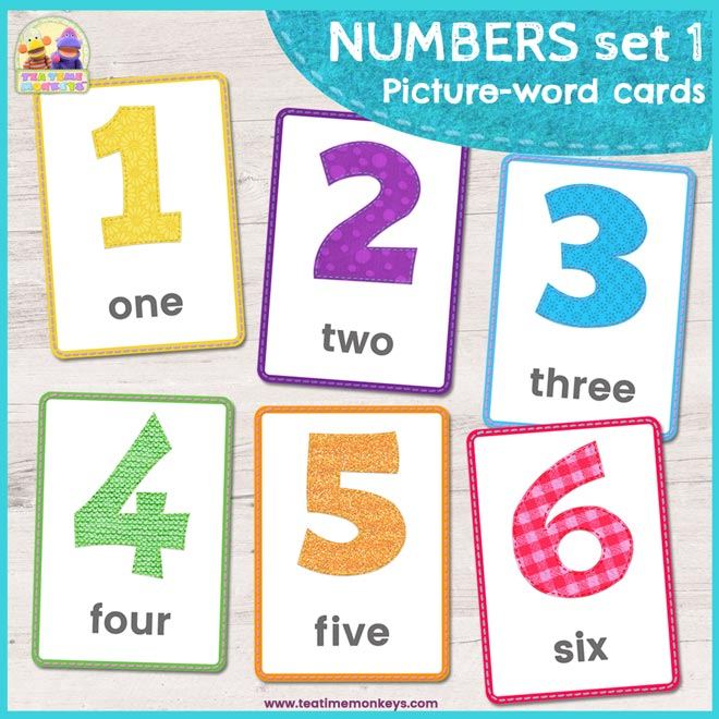 Free Number Flashcards 1 - 6 - Free Printable - Tea Time Monkeys