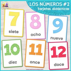 Tarjetas didácticas de los números 7-12 - Imprimible Gratis - Tea Time Monkeys