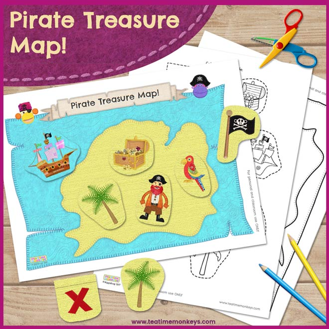 image about Printable Treasure Maps named Pirate Treasure Map Printable - Tea Year Monkeys