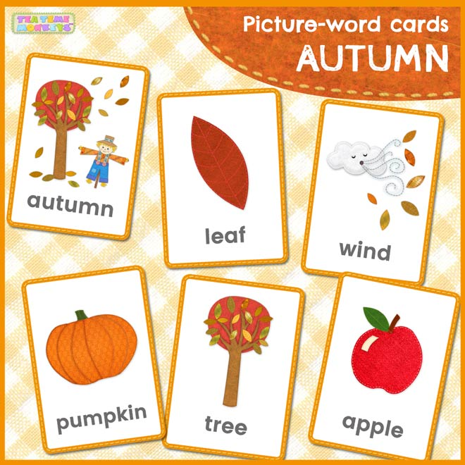AUTUMN / FALL picture word flashcards