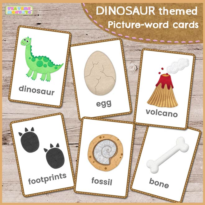 Dinosaur vocabulary picture word flashcards - Tea Time Monkeys