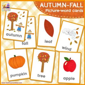 Autumn-Fall Flashcards - Free Printable - Tea Time Monkeys