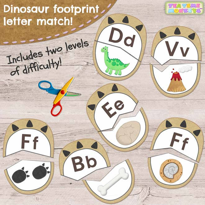 Dinosaur footprint letter match printable - Tea Time Monkeys