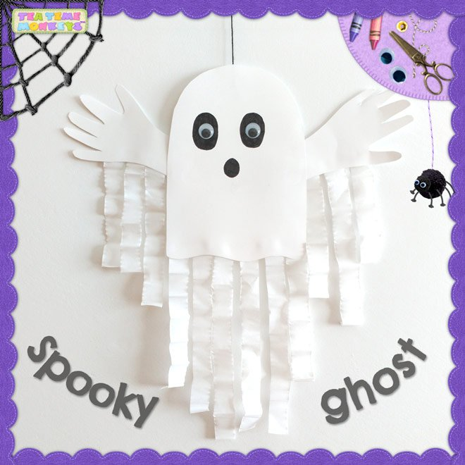 Spooky Ghost Halloween Craft for kids - Tea Time Monkeys
