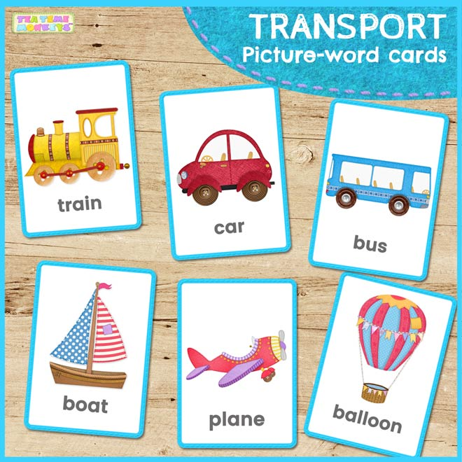 TRANSPORT picture-word flashcards