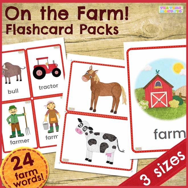On the Farm - Flashcard Packs - Tea Time Monkeys