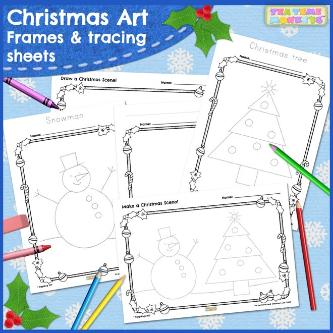 Christmas art - free frames and tracing sheets for kids - Tea Time Monkeys