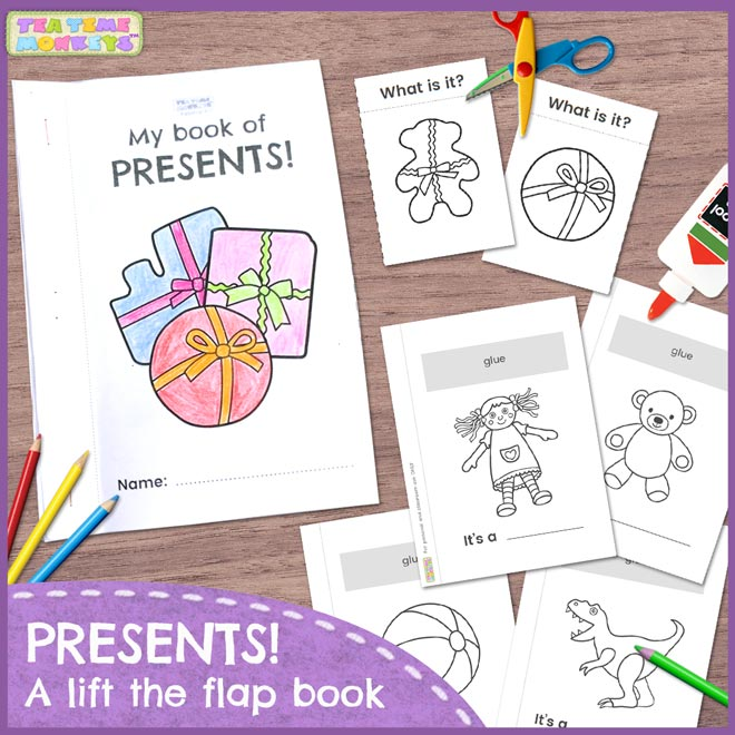 Presents! A cut and paste, lift the flap book for kids - Tea Time Monkeys