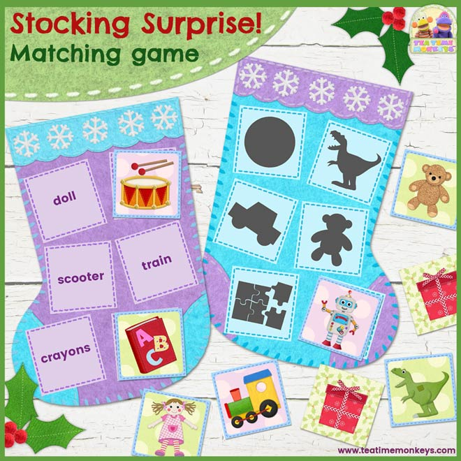 Christmas Stocking Surprise! Toy Words Matching Game