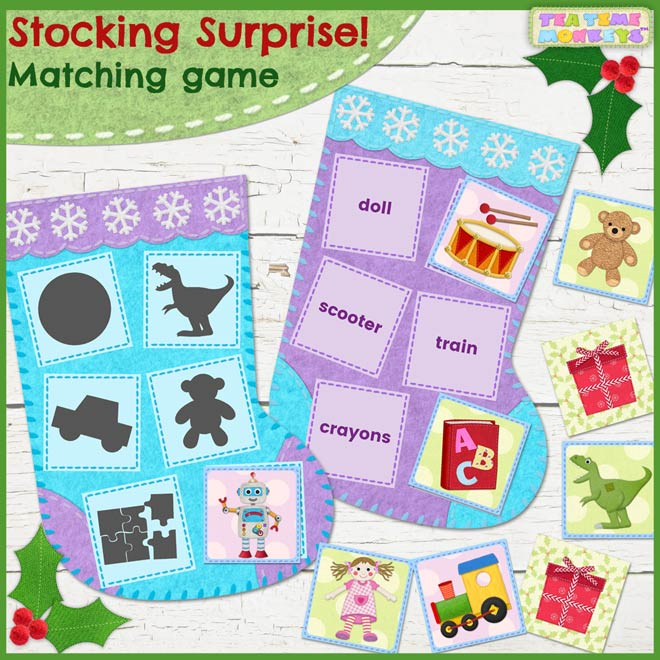 Toys Words Matching Game Printable - Stocking Surprise! - Tea Time Monkeys