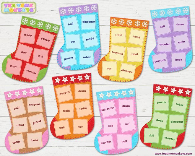 Stocking Surprise - Matching Game - Tea Time Monkeys
