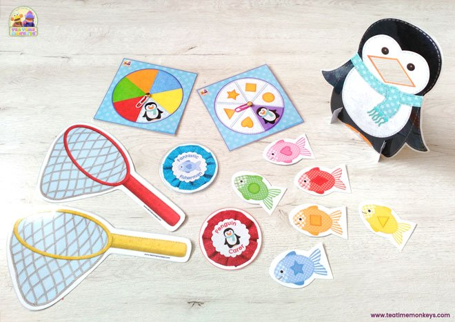 Hungry Penguin - Fishing game to practise colour and shape matching - Tea Time Monkeys