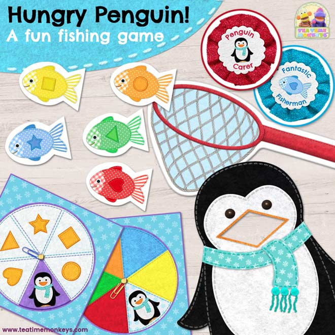 Hungry Penguin! – PRINT & PLAY – A fun, non-competitive fishing game to practise colours and shapes