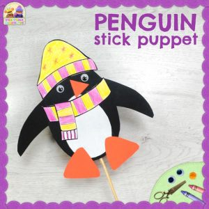 Penguin Stick Puppet - Winter Craft for kids - Tea Time Monkeys