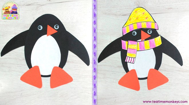 Penguin Stick Puppet Craft - step 4 - Tea Time Monkeys