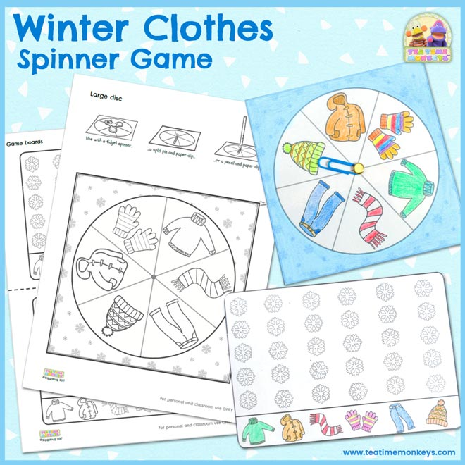 Winter Clothes Spinner Game - Free Printable - Tea Time Monkeys