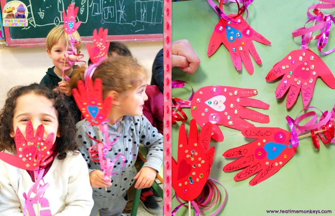 Love Hand - Valentine Craft for kids - Tea Time Monkeys