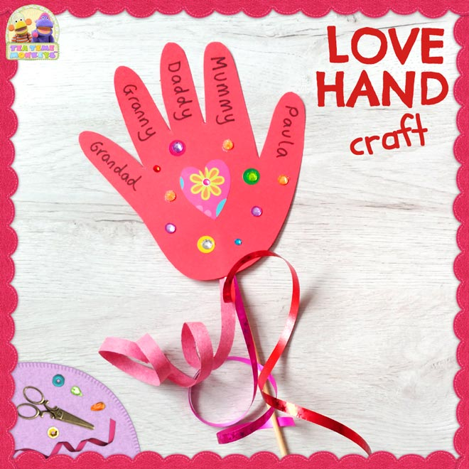 Love Hand - Valentine´s Day Craft for kids - Tea Time Monkeys
