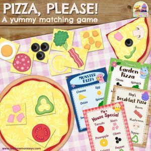 Pizza Please - A PRINT & PLAY matching and memory game for kids - Tea Time Monkeys