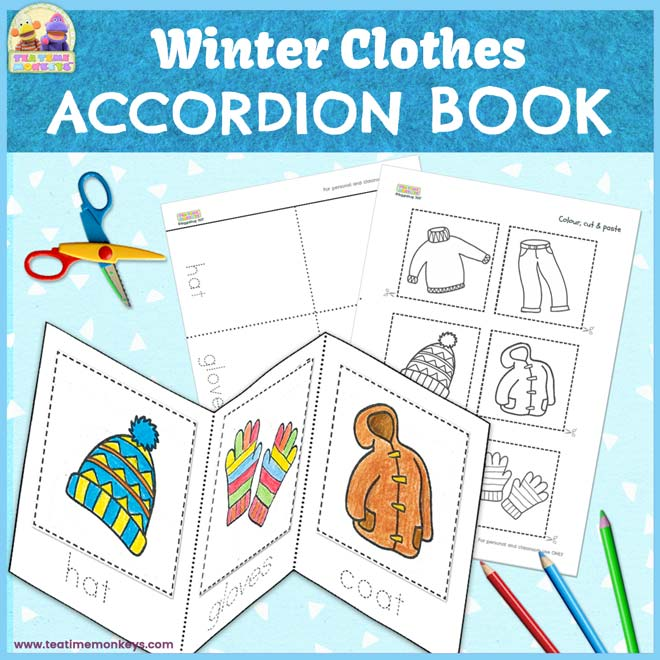 Winter clothes accordion minibook - free printable - Tea Time Monkeys