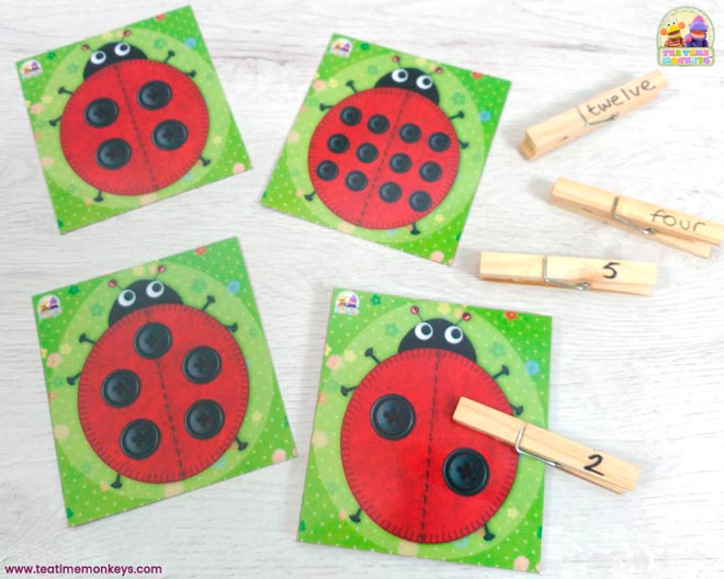 Ladybird Friends - Clip Cards - Tea Time Monkeys