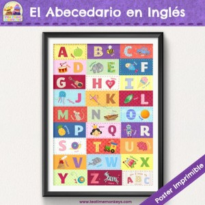 El Abecedario en Inglés - Poster Imprimible - Tea Time Monkeys