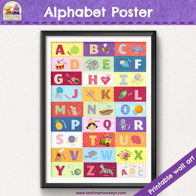 Alphabet Poster - Printable Wall Art for Kids - Tea Time Monkeys