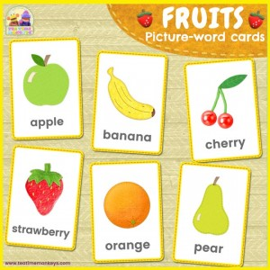 FRUITS picture-word flashcards - Tea Time Monkeys