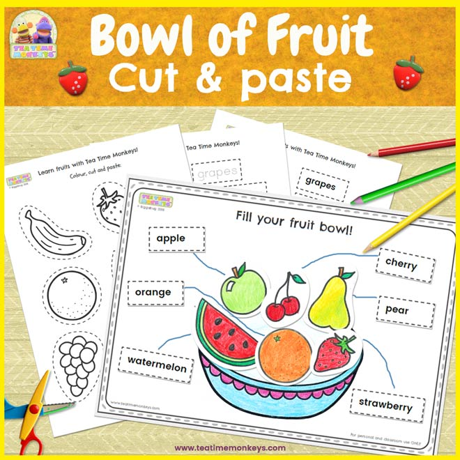 Bowl of Fruit Worksheet - Cut & Paste