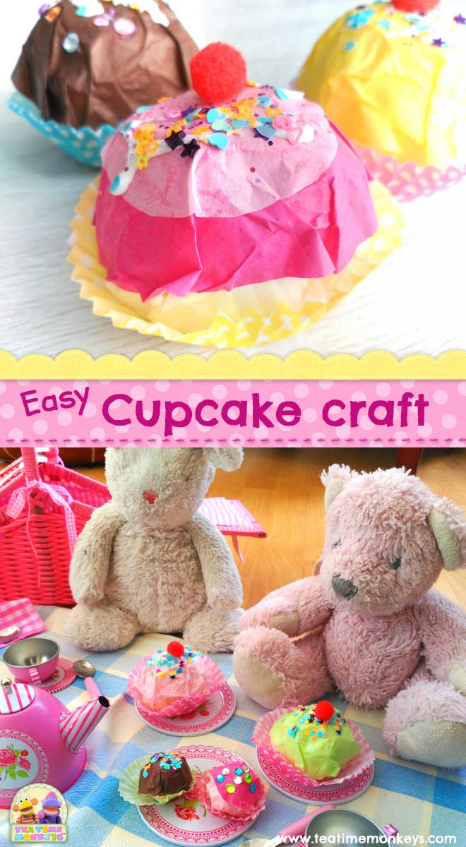 Play food - Easy Cupcake Craft - Tea Time Monkeys