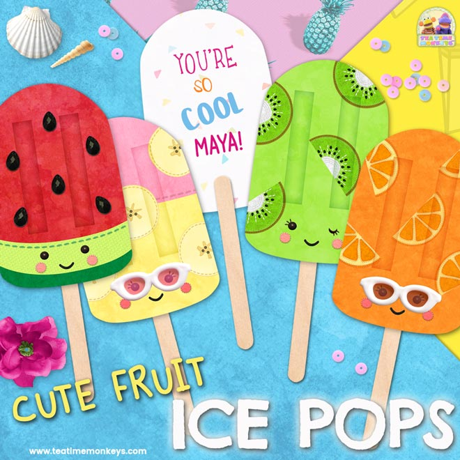 Cute Fruit Printable Popsicle Ice Pops - Tea Time Monkeys