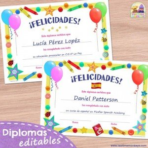 Diploma editable para niños - Diploma de fin de curso - Tea Time Monkeys