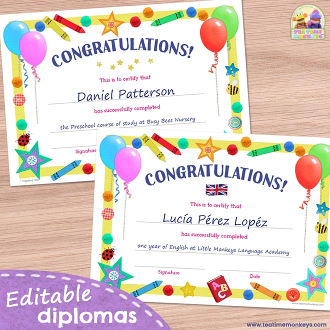 Editable diplomas for kids - End of Year or Graduation - Tea Time Monkeys