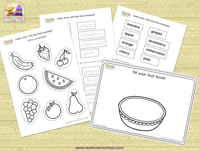 Fruit worksheet - Cut and Paste Bowl of Fruit - Tea Time Monkeys